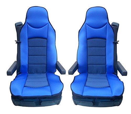 Preisvergleich Produktbild 2x LKW-Sitz Blaue Sitzauflage Schonbezüge Sitzaufleger Polyester Neu Satz OVP Hochwertig