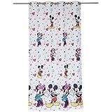 Textiles Home Mendola 10-19DMINMICK - 01 de Minnie Mouse de Disney y Mickey y ojal en la-cortina 140 x 245 cm blanco