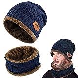 UMIPUBO Chauffant Bonnet Tricot avec Écharpe de Doublure Polaire, Hiver Chapeau Beanie pour Homme (Bleu foncé)