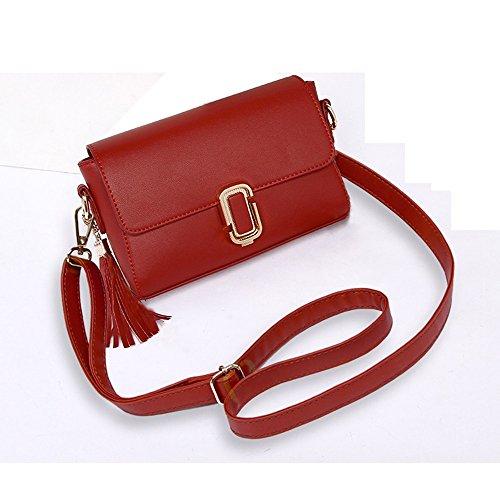 Pacchetto estivo, versione coreana dello zaino obliquo della spalla, borse, mini pacchetto semplice catena selvatica ( Colore : Rosso ) Rosso