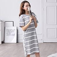 Pyjamas Sommer Damen Sleep Dress Sommer Kurzarm Baumwolle Streifen beiläufige Lose Lange Home Service Sleep Rock GAOLILI