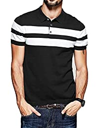 Fanideaz Men's Half Sleeve Navy Blue With White Contrast Striped Polo T-Shirt