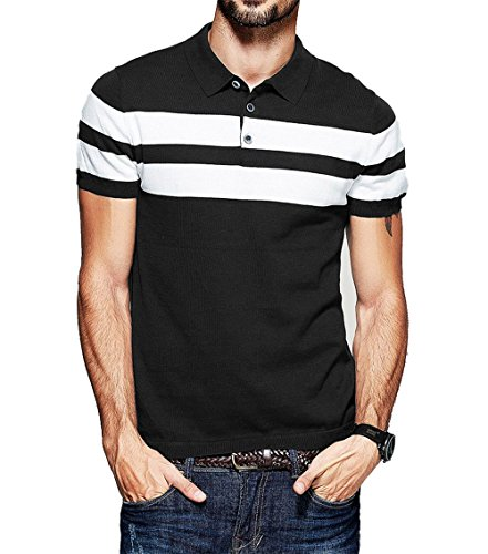 Fanideaz Men's Half Sleeve Black with White Contrast Striped Polo Tees M