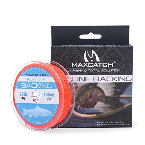 Maxcatch Fliegenschnur Reserve zum Fliegenfischen Geflochten Verschiedene Farben 20/30lb 100yards (orange, 20lb)