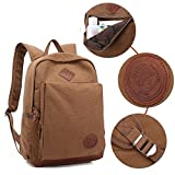 "AUGUR Casual Backpack Vintage Style Canvas 15.6"" Laptop Computer Bag College School Daypack Shoulder Bag for Ourdoor Travel Camping Hiking(coffee)"