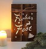 LB H&F Holzschild Dekoschild Weihnachten Schild Frohes Fest Natur braun zum hinstellen oder aufhängen 30 cm Gross