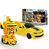 #9: FunBlast™ One Button Transforming Robot Action Figure Convert into sports Racing Car for Kids with 360 Degrees Spin Features, USB Rechargeable Batteries and Lights and Realistic Engine Sounds