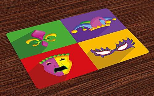 Soefipok Karneval-Tischsets, Bunte Rahmen mit Mardi Gras Icons Masken Harlekin-Hut und Fleur De Lis Print, waschbare Stoff Tischsets für Esszimmer Küchentisch Dekor , 4er Set (Mardi Gras Hüte Und Masken)