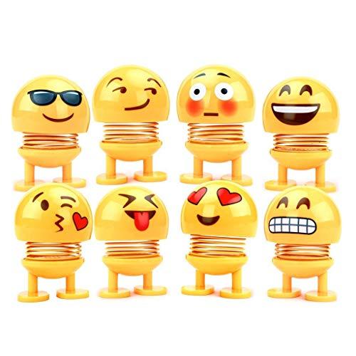 YunHuikeji 8 Stücke Nette Emoji Wackelkopf Puppen, lustige Smiley Springs Tanzen Spielzeug für Auto Armaturenbrett Ornamente,Party Favors, Geschenke, Hauptdekorationen
