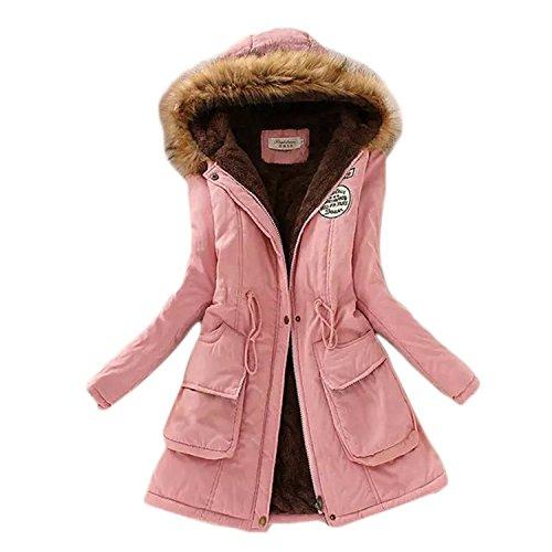 Winter Warm Coat Women Long Parkas Fashion Faux Fur Hooded Womens Overcoat Casual Cotton Padded Jacket Mutil Colors Pink XXL
