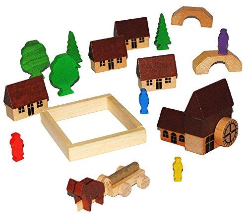t: Dorf mit Wassermühle, Häuser & Bäume, Pferdewagen, Figuren und Bausteine - aus Holz - Baukasten - Original Erzgebirge - ideal für Holzeisenbahn G.. ()