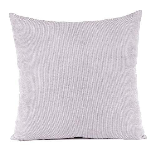 TanYoo Einfach Dekorativ Sofa Kissenbezug Kord Kissenhülle mit verdecktem Reißverschluss, 80x80, Hellgrau Mehrweg