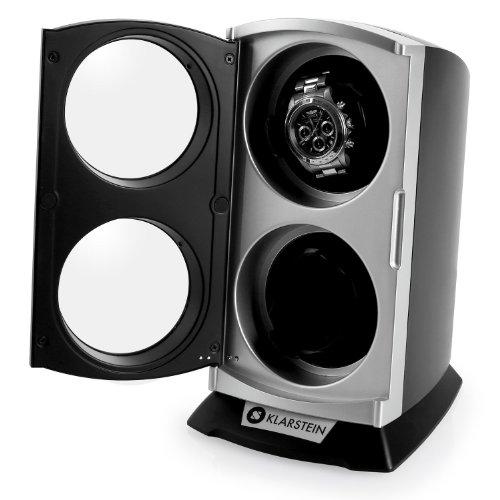 Klarstein St.Gallen Premium Uhrenbeweger vertikale Uhrenbox (für 2 Uhren, LED Beleuchtung, flüsterleise, 4 Rotationsprogramme, 3 Drehmodi) schwarz-blau - 2