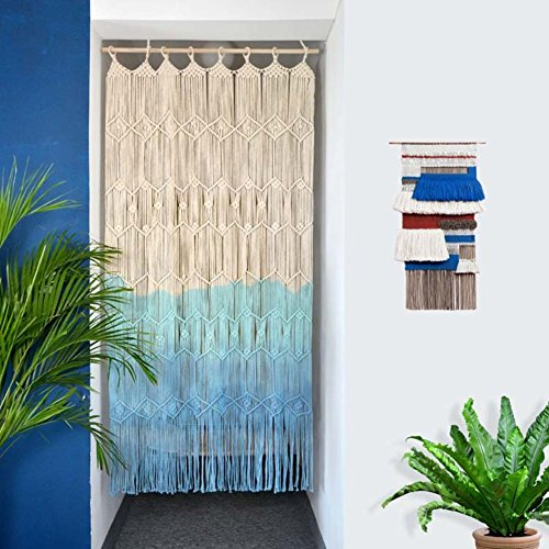 Cortina de puerta en Macramé Color degradado azul