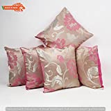 GOLDENIZE™PINK SET OF 5 TROW CUSHION PILLOW COVER DECROATIVE POLYSTER SILK SQUARE CUSHION COVER OUTDOOR COUCH SOFA HOME PILLOW COVER 12X12INCH (30CMX30CM) MADE IN INDIA.PRODUCT ID:P1_12X12