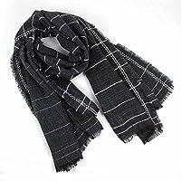 Men 's Winter Invierno bufanda bufanda gruesa rayas gris textura suave bufanda delgada
