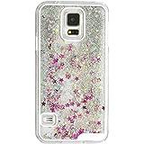 iProtect Schutzhülle Samsung Galaxy S5 Hülle Sterne und Glitzer-Regen silber und pink mit flüssigem Schneekugel-Effekt