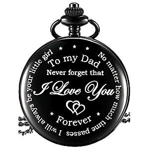 Papa Geschenk von Tochter zu Vater Graviert Taschenuhr – No Matter How Much Time Passes, I Will Always Be Your Little Girl