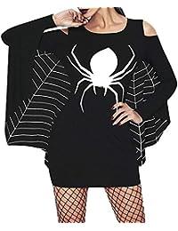 Jipai(TM) Disfraz Halloween para Mujer Color Negro Cosplay Sexy Araña Bate