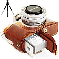 First2savvv marron oscuro Funda Cámara cuero de la PU cámara digital bolsa caso cubierta para Olympus PEN E-PL8 EPL8 Digital SLR + Mini trípode XJD-EPL8-D10G6