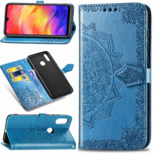 MUSESHOP Funda Xiaomi Redmi Note 7, Estuche de Cuero Estampado Mandala Libro de Cuero con Tapa y Cartera, Carcasa PU Leather con TPU Silicona Case Interna Suave - Azul