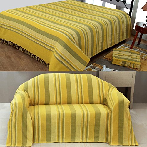 Homescapes Morocco Textured Stripe Throw 90 X 100 Inches Yellow Ochre Green  Handmade 100% Cotton Suitable For Most 3 Seater Sofas Double King  Bedspreads ...