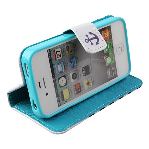 iPhone 4S Hülle, iPhone 4 Hülle,ISAKEN iPhone 4S Hülle Case,Handy Case Cover Tasche for iPhone 4S / iPhone 4, Bunte Retro Muster Druck Flip PU Leder Tasche Case Hülle im Bookstyle mit Standfunktion Ka Gestreift Anker