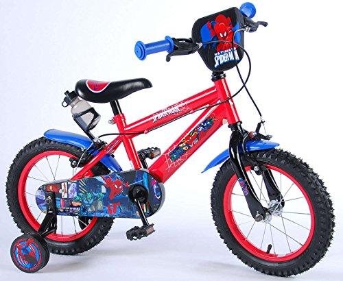 Bici Bicicletta Bambino Disney Cars 14 Pollici con Ruotine Rosso Biciclette e tricicli