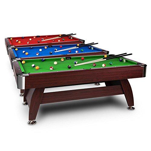 oneConcept Brighton Billardtisch 7 Spieltisch Pooltisch (Kirschholzoptik, 122x82x214 cm, Zubehörset wie Kugelsatz 16-tlg., 2x Queue, Ballrücklauf) rot, grün oder blau