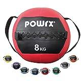 POWRX Balle de poids avec bande de serrage I Ballon de gymnastique /Medicine Ball 1 - 8 kg différentes couleurs I Balle de fitness Medicine (Rouge, 8 kg)