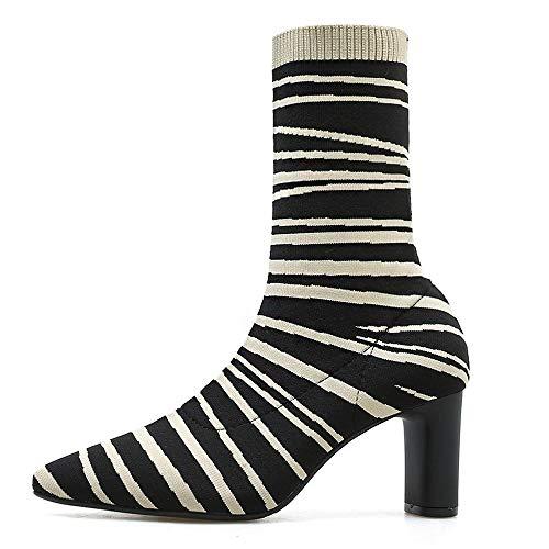 Yvelands Damen Zebra Muster High Heels Elastizität Ferse -