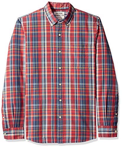 Goodthreads Slim-fit Long-Sleeve Pattern Chambray Freizeithemd Rot Denim Plaid Red, M