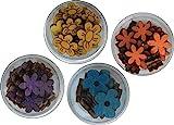 Petra's Bastel News A-BL4DF4 Dosenset Farbige Blumen IV, Bestehend aus 4 Verschiedenen Designs 4 Farben, 4-Teiliges, Holz