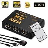 HDMI Switch,Neefeaer 3 Port HDMI Switch   HDMI Splitter Box   HDMI Verteiler 3D HD 4K/1080p Adapter für Laptops, DVD, HDTV inkl Fernbedienung(3 x IN / 1 x Out)