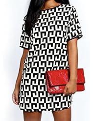 QHGstore Estilo europeo y americano cuello redondo manga corta suelta vestido de impresión de gran tamaño XXL