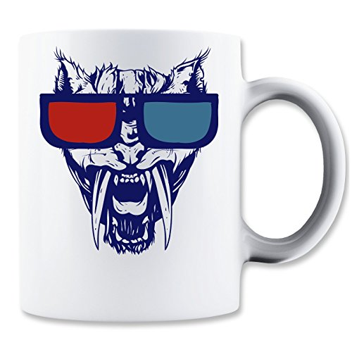 Angry Cat Wit Red And Blue Sunglasses Klassische Teetasse Kaffeetasse