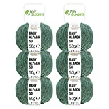 100% Alpakawolle in 50+ Farben (kratzfrei) - 300g Set (6 x 50g) - weiche Baby Alpaka Wolle zum Stricken & Häkeln in 6 Garnstärken - Smaragd Heather (Grün)