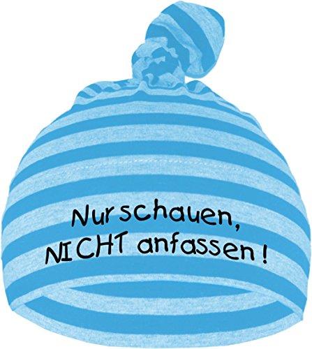 Baby Mütze NUR SCHAUEN - NICHT ANFASSEN / Jungen Babymütze Motiv Hat Mädchen, Farbe: Hellblau/Dunkelblau, Gr. 0 - 74 (0-12 Monate)