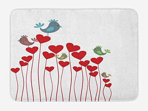 tgyew Love Bath Mat, Bird Sings Sitting Hearts Twitting Springtime Garden Valentine's, Plush Bathroom Decor Mat with Non Slip Backing, 23.6 W X 15.7 W Inches, Ruby Cadet Blue Green Mauve -