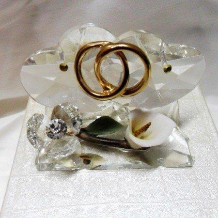Bomboniere coppia cuori in cristallo con fedi
