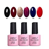 AIMEILI Set Smalto Semipermente in Gel UV LED per Manicure Smalti per Unghie Soak Off Colorati Set 6 x 10 ml - Set Numero 21