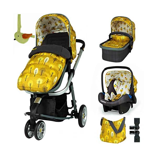 Cosatto Giggle 3 Travel System in Spot The Birdie with Car Seat Base Bag footmuff & Raincover Cosatto Easily transforms to be used with carrycot, pushchair seat and matching Cosatto group 0+ car seat (included). Compact, easy fold. Lightweight aluminium chassis. All-round suspension for a smooth ride. Quick-release removable premium wheels. 2