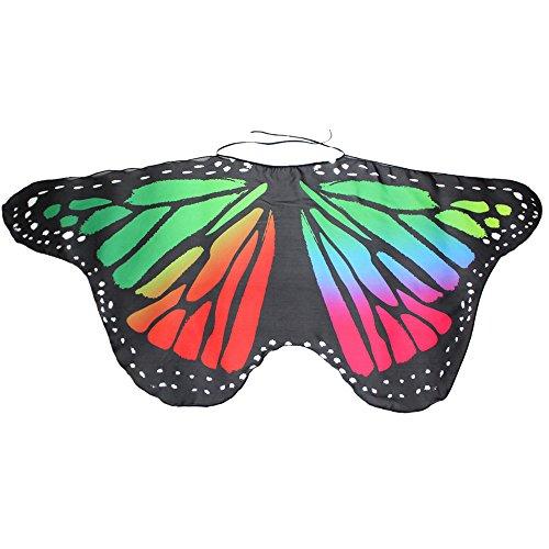 YWLINK Eltern Kind Chiffon Klassisch Karneval Bohemien Schmetterling Print Schal Jungen MäDchen Cosplay ZubehöR Erwachsener Weihnachten Halloween FlüGel Umhang Bunt Pashmina(Größe:147 * ()