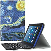 MoKo All-New Amazon Fire HD 8 Bluetooth Tastatur Hülle Keybord Case - Wireless Bluetooth Tastatur QWERTY Layout mit Auto Sleep/Wake up Funktion, Sterne Nacht