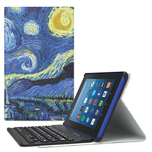 Wifi Kindle Keyboard (MoKo All-New Amazon Fire HD 8 Bluetooth Tastatur Hülle Keybord Case - Wireless Bluetooth Tastatur QWERTY Layout mit Auto Sleep/Wake up Funktion für das neue Fire HD 8 Tablet (7th Gen–2017 Modell) / Fire HD 8 (6th Gen-2016 Modell), Sterne Nacht)