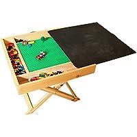 Preisvergleich für Hot wing Spieltisch für Kinder, kompatibel mit LEGO, für viele verschiedene Aktivitäten geeignet, tragbar, zusammenklappbar, quadratisch, mit Kreidetafel und Stauraum