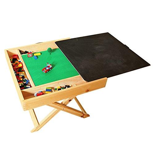 Mesa de madera de ala caliente, compatible con LEGO, multiactividad, portátil, plegable, cuadrada, con pizarra y almacenamiento, para niños y niños