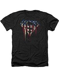 Superman DC Comics Character Bleeding Flag Shield Adult Heather T-Shirt Tee
