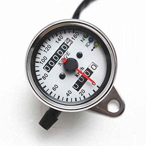 Universal Motorrad LED-Hintergrundbeleuchtung Tachometer Drehzahlmesser Geschwindigkeitsmesser Kilometerzähler - Silber