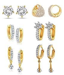 Youbella American Diamond Hoop Earrings For Women & Girls (Combo Of 6)
